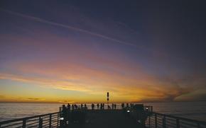 Картинка sky, sunset, water, clouds, people, pier