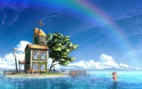 Картинка море, рисунок, остров, радуга, домик