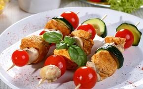Картинка грибы, мясо, помидоры, шашлык, огурцы, черри, meat