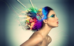 Картинка цвет, Волосы, Макияж