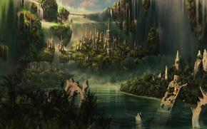 Обои CG wallpapers, облака, шпили, город, Atlantis, замок, руины, водопады, водопад, горы, башни, Elven castle