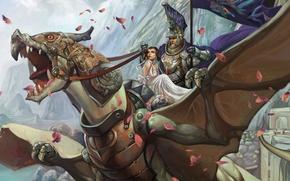 Обои дракон, фентези, девушка, всадник
