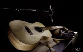 Обои микрофон, музыка, гитара