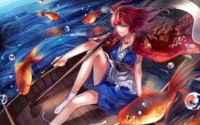 Картинка girl, river, anime, painting, fish, Touhou, boat, redheaded, Onozuka Komachi, Xhosa