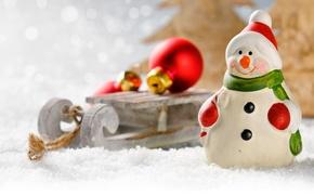 Картинка шарики, украшения, игрушка, Новый Год, Рождество, снеговик, санки, елочные