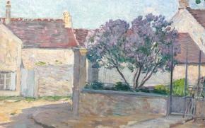 Картинка дом, улица, картина, городской пейзаж, Анри Лебаск, Village Street in Anjou
