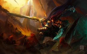 Картинка арт, воин, katarina, битва, девушка, lol, Kan Liu, League of Legends