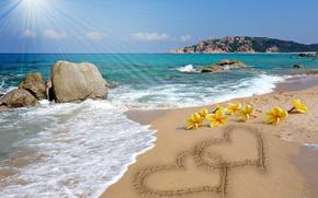 Картинка message, сердце, романтика, beach, sunshine, песок, рисунок, love, plumeria, i miss you, hearts, любовь, пляж, …