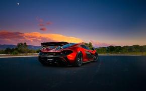 Картинка McLaren, Orange, Front, Sunset, Death, Road, Supercar, Valley, Spoiler, Hypercar, Exotic, Rear, Volcano, Extra, Terrestrial