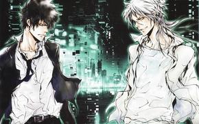 Картинка ночь, небоскребы, белые волосы, ухмылка, два парня, белая рубашка, глаза в глаза, Psycho-pass, Shinya Kougami, …