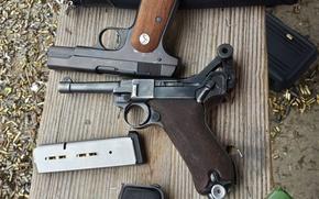 Картинка оружие, пистолеты, Luger P08, M1908 Colt
