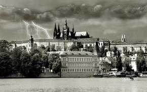 Картинка гроза, Прага, Обои Чехия, храм св. вита