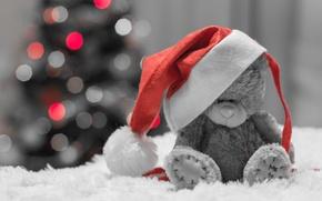 Картинка праздник, шапка, игрушка, елка, медведь, боке