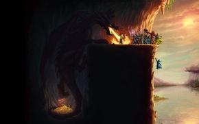 Картинка магия, дракон, игра, толпа, юмор, game, gold, сокровища, карьера, маги, magicka, mage, очередь, gragon