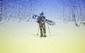 Обои ветер, человек, деревья, снег