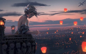 Картинка девушка, закат, ветер, фонари, балкон, art, wlop