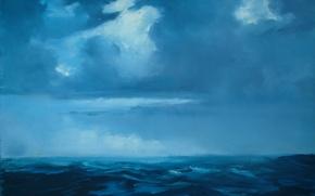 Картинка море, волны, небо, вода, тучи, горизонт, monte ellis