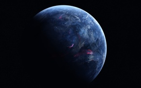 Картинка dark, black, blue, planet, sci fi