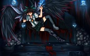 Картинка девушка, глаз, диван, магия, крылья, демон, арт, черепа, красные глаза, reiuji utsuho, touhou, shou mai
