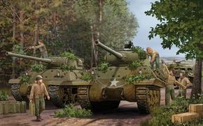 Картинка пушки, арт, танк, США, game, the, установка, Jackson, самоходная, артиллерийская, САУ, экипаж, Шерман, калибр, Flames …