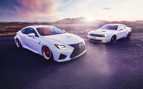 Картинка Lexus, Dodge, Challenger, Cars, Front, Sunset, White, Sport, Stance, Liberty, Walk, RC350