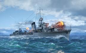 Картинка Эсминец, Wargaming Net, WoWS, World of Warships, Мир Кораблей, ORP Błyskawica