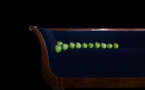Картинка фон, диван, яблоки