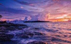 Картинка море, небо, облака, закат, мост, камни