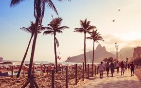 Картинка пляж, пальмы, люди