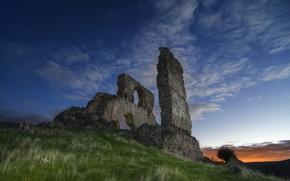 Картинка grass, twilight, sky, clouds, stars, stones, ruins