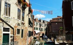 Картинка бельё, Венеция, Italy, здания, Italia, canal, boats, улица, канал, лодки, Италия, Venice, street, Venezia