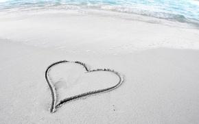 Картинка песок, пляж, настроение, обои, берег, сердце