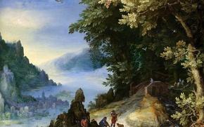 Картинка картина, Ян Брейгель старший, Скалистый Речной Пейзаж с Путниками