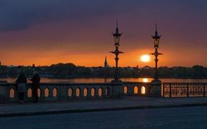 Картинка небо, пейзаж, закат, озеро, Германия, фонари, набережная, Гамбург