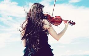 Обои настроения, ветер, mood, девушка, облака, небо, скрипка, платье