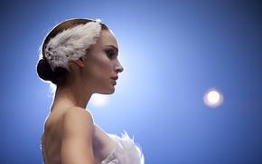 Обои Натали Портман, балерина, перья, Черный Лебедь, девушка, Natalie Portman