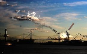 Картинка небо, мост, Обработка