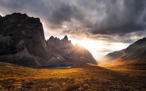 Картинка осень, закат, горы, тучи, скалы, Юкон
