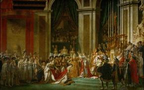 Картинка Наполеон, Жак Луи Давид, исскуство, Помазание императора, Коронация Наполеона