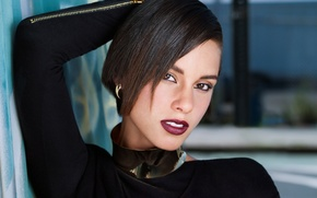 Картинка портрет, брюнетка, певица, Alicia Keys