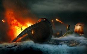 Обои море, атака, война, волны, корабли, выстрелы, огонь