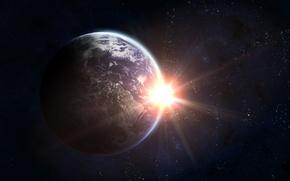 Картинка light, planet, galaxy, Planet Earth