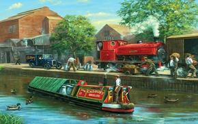 Картинка пейзаж, город, люди, рисунок, утки, паровоз, картина, канал, автомобиль, баржа, cadbury