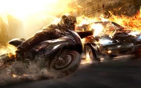 Обои мотоциклы, тачки, взрыв