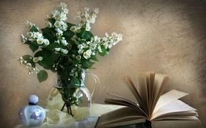 Картинка стена, духи, книга, ваза, жасмин
