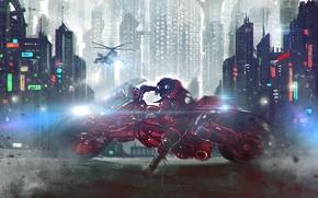 Картинка ночь, город, арт, вираж, мотоцикл, вертолет