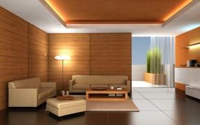 Обои комната, диван, пол, квартиры, Интерьер, столик, светильник, дерево, Дизайн