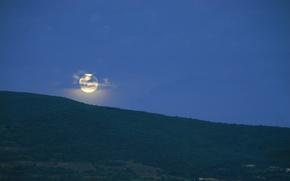 Картинка Горы, Луна, Утро, Перед рассветом