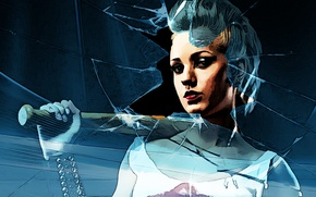 Картинка Girl, glass, bat, blonde, baseball, broken glass