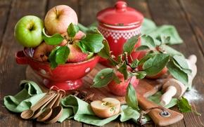 Обои листья, яблоки, посуда, доска, фрукты, корица, красная, ложки, скалка, бадьян